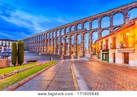 Segovia Spain. Plaza del Azoguejo and the ancient Roman aqueduct.