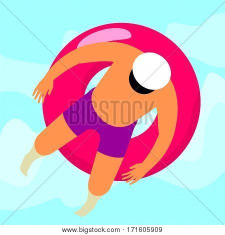 Girl Swims In The Sea
