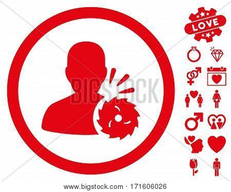 Body Execution icon with bonus lovely images. Vector illustration style is flat iconic red symbols on white background.