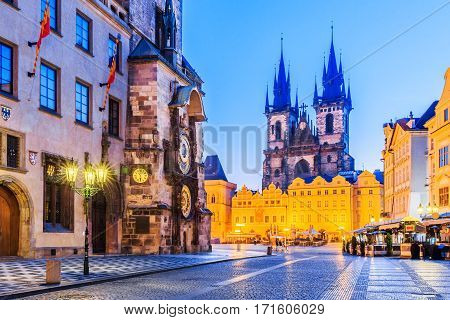 Prague Czech Republic. Church of Virgin Mary Before Tyn and the astronomical clock.