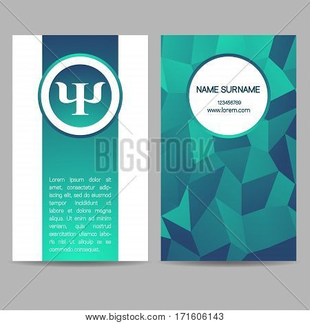 Vector Psychology Web banner design background or header Templates. Psi sign. Symbol and icon, icon. Profile Human. Creative style. Brand company concept. Greeb blue gradient color booklet.