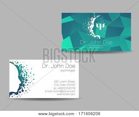Psychology vector visit card. Modern sign . Creative style. Design concept. Brand company. Greeb blue color isolated on grey background. Symbol for web, print. visiting personal set illustration