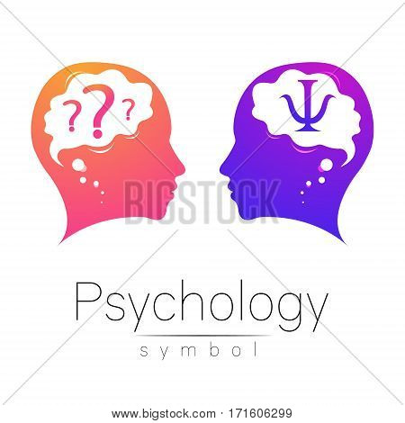 Modern head sign of Psychology. Profile Human. Letter Psi. Creative style. Symbol in vector. Design concept. Brand company. Violet pink color isolated on white background. Icon for web.