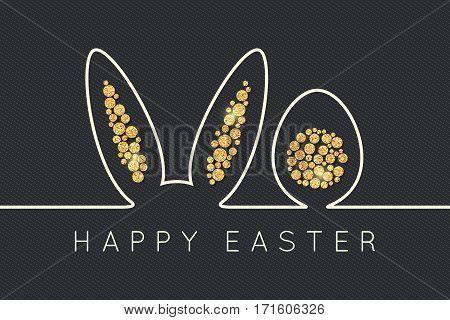 Easter bunny line. Golden Egg Design background. 10 eps