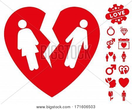 Broken Family Heart pictograph with bonus romantic pictograph collection. Vector illustration style is flat iconic red symbols on white background.