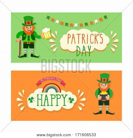 St. Patrick's Day banner. leprechaun with a pot of gold. St. Patrick's Day card. Leprechaun with a stick, smoking pipe and a glass of beer