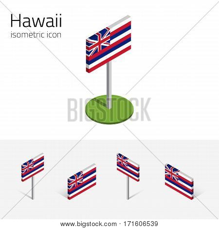 Flag of Hawaii (State of Hawaii, USA), vector set of isometric flat icons, 3D style, different views. Editable design element for banner, website, presentation, infographic, map, collage, card
