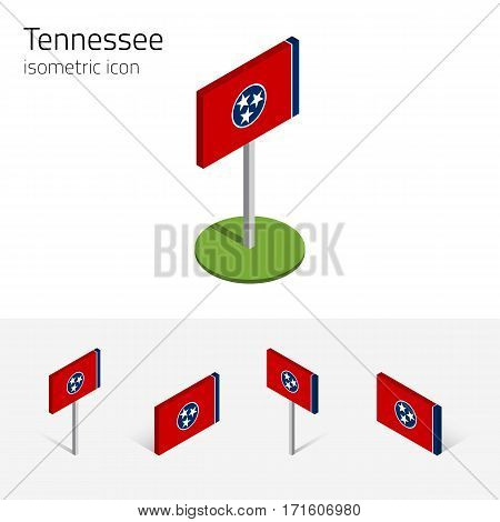 Flag of Tennessee (State of Tennessee, USA), vector set of isometric flat icons, 3D style, different views. Editable design element for banner, website, presentation, infographic, poster, map