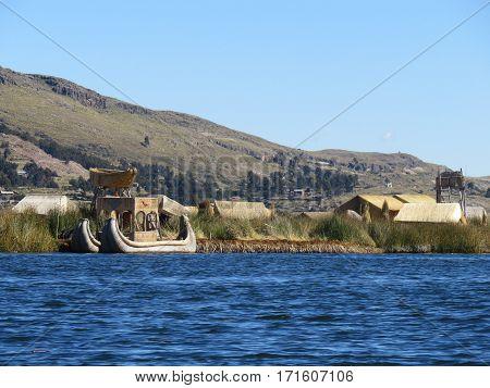 A weathered reed boat along the coast Lake Titicaca in Puno Peru