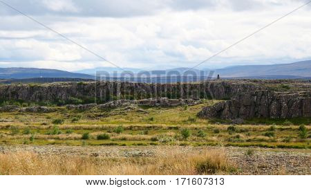 A distant flat plateau with rocky terrain in Iceland