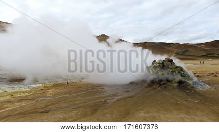 A steaming fumarole on the geo-thermal landscape of Krafla