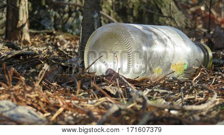 A close up of bottle left in the woods