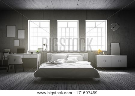 3D rendering : illustration of big spacious bedroom in soft light color.big comfortable double bed in elegant old vintage cement style bedroom .interior design of house cement concrete loft wall