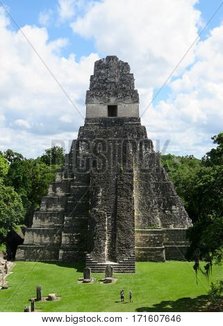 Mayan stepped pyramid among the Tikal ruins in Peten, Guatemala