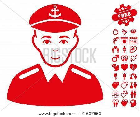 Captain pictograph with bonus decoration graphic icons. Vector illustration style is flat iconic red symbols on white background.