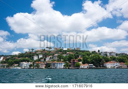 Panoramic view of Istanbul and Bosphorus which separates Asian Turkey from European Turkey in Istanbul
