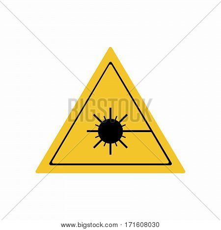 The laser radiation sign vector design isolated on white background