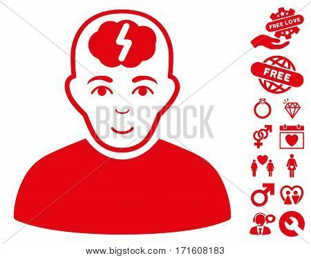 Clever Boy icon with bonus amour graphic icons. Vector illustration style is flat iconic red symbols on white background.