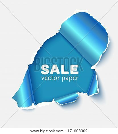 Hole in white paper with glossy blue torn sidesand with space for text. Realistic vector torn paper for sale promo, web banners
