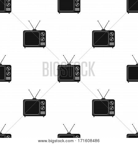 Television advertising icon in black style isolated on white background. Advertising pattern vector illustration.