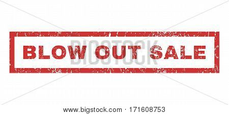 Blow Out Sale text rubber seal stamp watermark. Caption inside rectangular shape with grunge design and unclean texture. Horizontal vector red ink emblem on a white background.