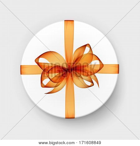 Vector White Round Gift Box with Transparent Orange Bow and Ribbon Top View Close up Isolated on Background