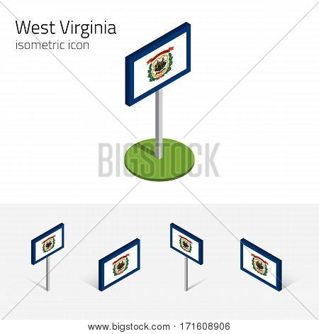 Flag of West Virginia (State of West Virginia, USA), vector set of isometric flat icons, 3D style, different views. Editable design element for banner, website, presentation, infographic, map, collage