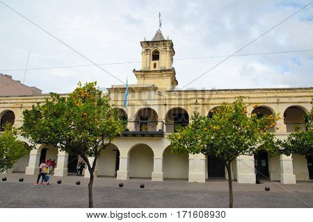 Long shot of one of the typical buildings in the city of Salta in Argentina South America