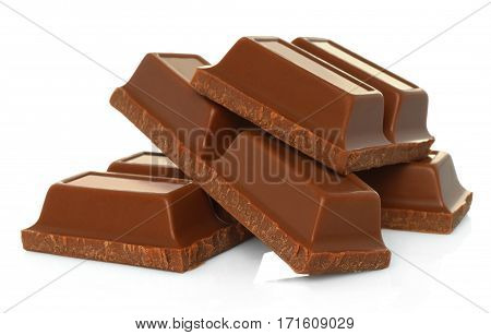 Broken chocolate bars isolated on white background