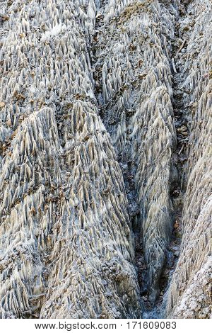 Abstract texture forms in a salt wall geological formation, near sovata, romania