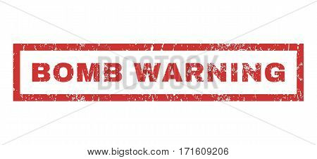 Bomb Warning text rubber seal stamp watermark. Tag inside rectangular shape with grunge design and dirty texture. Horizontal vector red ink emblem on a white background.