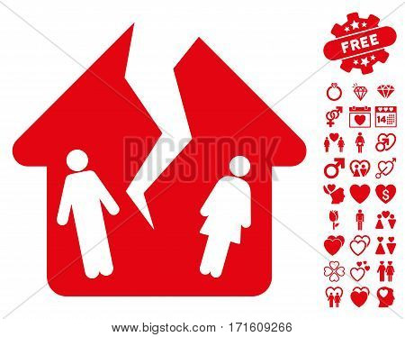 Divorce House icon with bonus decoration pictograms. Vector illustration style is flat iconic red symbols on white background.