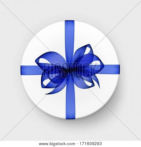 Vector White Round Gift Box with Transparent Blue Bow and Ribbon Top View Close up Isolated on Background