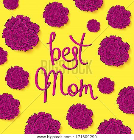 Best Mom. Floral greeting cards with carnations in 80-90s style. Decorative halftone lettering. Vector illustration