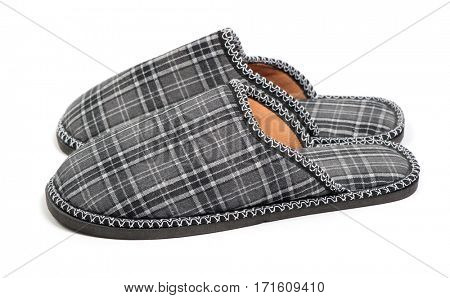 Pair of slippers isolated on white background