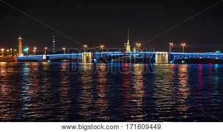 Night view of bridge in Saint-Petersburg city, Russian Federation