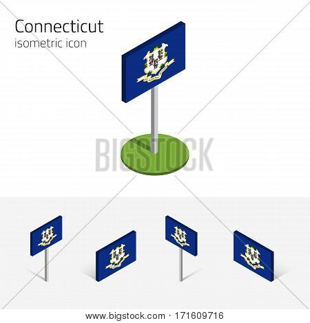 Flag of Connecticut (State of Connecticut, USA), vector set of isometric flat icons, 3D style, different views. Editable design element for banner, website, presentation, infographic, map, collage