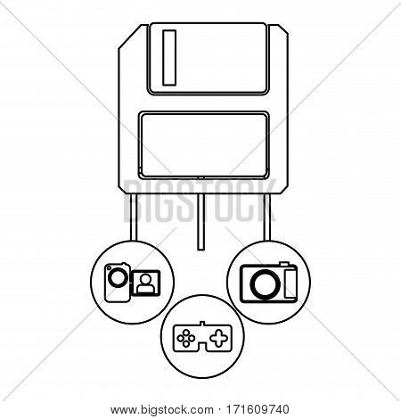 diskette server icon stock, vector illustration design