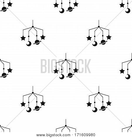 Baby crib icon in black style isolated on white background. Baby born pattern vector illustration.