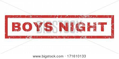 Boys Night text rubber seal stamp watermark. Tag inside rectangular banner with grunge design and dust texture. Horizontal vector red ink emblem on a white background.