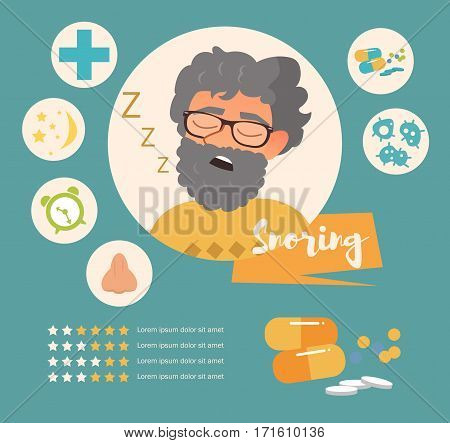 Snoring. Vector art on a white background. Cartoon. Isolated. Flat. Illustration for websites, brochures, magazines Medicine Infographics