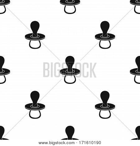 Baby pacifier icon in black style isolated on white background. Baby born pattern vector illustration.