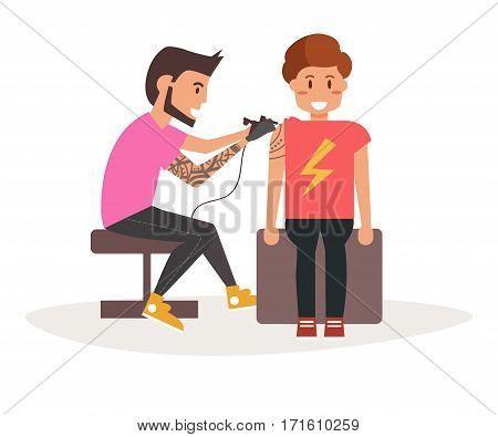 Tattoo master making tattoo to a man. Vector illustration. Cartoon character. Art on a white background.