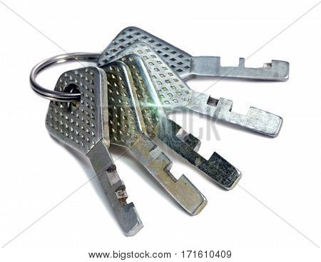 Bunch of keys Close up on a white background