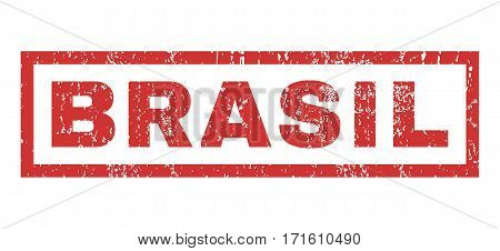 Brasil text rubber seal stamp watermark. Caption inside rectangular shape with grunge design and dirty texture. Horizontal vector red ink emblem on a white background.