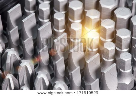 Set of bits in bit holder,Close up in a sunny day