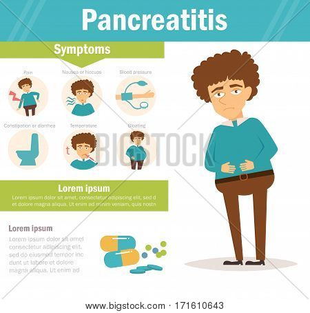 Pancreatitis. Vector. Cartoon. Isolated. Flat Illustration for websites brochures magazines Medicine