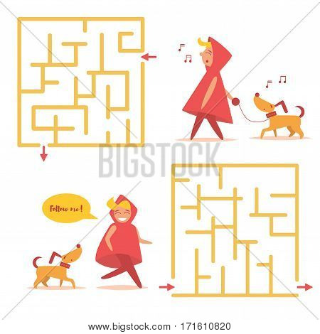 Simple children's labyrinth. Girl in a red hood walks with a yellow dog