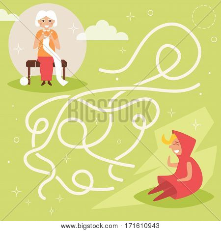 Children's labyrinth. Grandmother and granddaughter. Vector. Cartoon. Isolated. Flat Illustration for children