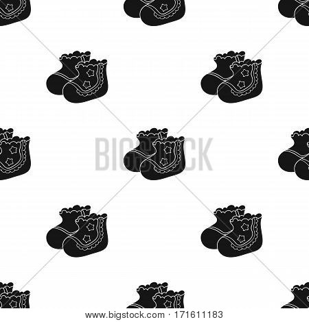 Baby socks icon in black style isolated on white background. Baby born pattern vector illustration.